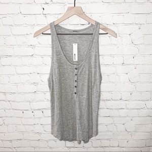 LAmade Ribbed Henley Button Tank Gray Size Small NWT